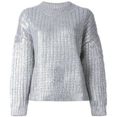 DKNY Metallic Ribbed Sweater (18 570 UAH) ❤ liked on Polyvore featuring tops, sweaters, jumper, shirts, blouses, metallic, gray sweater, crew neck shirt, cuff shirts and long sleeve crew neck shirt