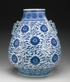 A FINE BLUE AND WHITE 'LOTUS' VASE, HU QIANLONG SEAL MARK AND PERIOD - Sotheby's
