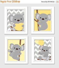 20% OFF SALE Yellow and gray nursery, Nursery Koala Art, Koala baby shower, Grey and Yellow Nursery, Koala Nursery, Set of 4 8x10