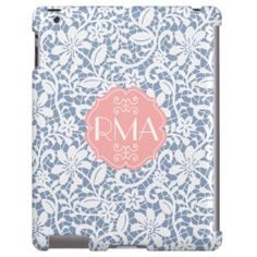 Elegant Blue Vintage Lace Personalized Monogram lowest price for you. In addition you can compare price with another store and read helpful reviews. BuyShopping          Elegant Blue Vintage Lace Personalized Monogram today easy to Shops & Purchase Online - transferred directly secur...