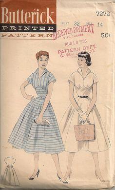 Vintage 1950's Dress Pattern Butterick 7272