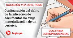 Casación 1121-2016, Puno: Configuración del delito de falsificación de documentos no exige materialización de un perjuicio (doctrina jurisprudencial)