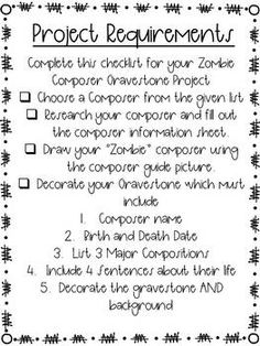 Zombie Composer Gravestones - Research Project by Rocky Mountain Music Classroom Projects, Classroom Resources, Mountain Music, Halloween Music, Music Store, Music Classroom, Composers, Research Projects, Music Education