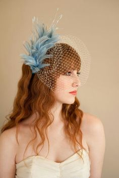 """An Awesome """"Something Blue,"""" Bridcage Veil With A Fascinator Of  Light Blue Feathers!"""