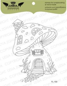 """Nature > Stamp """"Fairy Tale house"""" Buy from e-shop Fairy Drawings, Fantasy Drawings, Pencil Art Drawings, Art Drawings Sketches, Mushroom Drawing, Mushroom Art, Wall Drawing, Painting & Drawing, Coloring Books"""