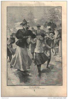 """Die ersten Schlittschuhe  - Druck, entnommen   aus """"die Gartenlaube"""", 1897"""