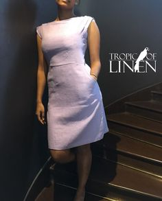 Lilac Linen Dress on TropicOfLinen fashion stairway. Short sleeve dress with pockets.