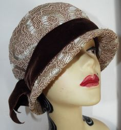 Vintage Ladies Hat 1950's Beige Straw Cloche with embroidered highlights By Dana Marte Chapeau Originale