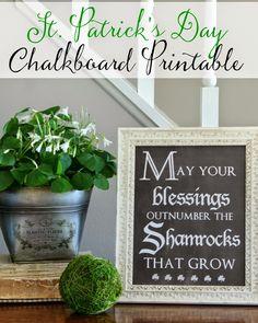 St. Patrick's Day Chalkboard Printable