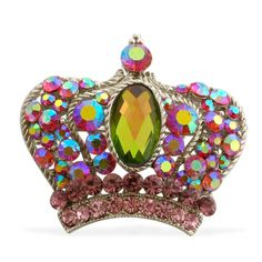 Crown Jewel ~  Affordable Red, Pink and Purple Austrian Crystal Brooch in Silvertone.