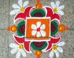 Get of beautiful rangoli designs for Diwali, New Year and Competition. Discover these beautiful rangoli designs of Ganesh, peacocks and with flowers. Rangoli Colours, Rangoli Patterns, Rangoli Kolam Designs, Rangoli Ideas, Rangoli Designs Images, Beautiful Rangoli Designs, Mehndi Designs, Small Rangoli Design, Rangoli Designs With Dots