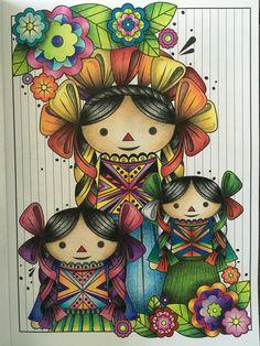 Coloreanding México, mexican dolls, prismacolor. Malacara & Gale
