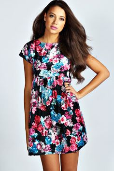 Victoria Floral Velvet Cap Sleeve Smock Dress at boohoo.com, very cute... :)