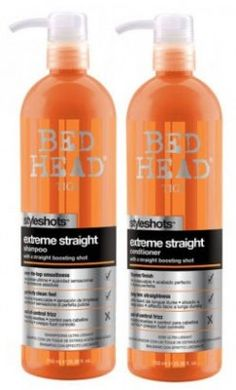 Another pinner said:If you have naturally curly hair DO NOT buy anything other than this to get it strait without having to flat iron it. I swear by it. TIGI Bed Head Styleshots Extreme Straight Shampoo & Conditioner Duo + TIGI S Factor Straighten and Shine Spray + Professional Flat Iron=Perfect Hair!
