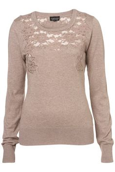 Knitted Lace Insert Jumper - Topshop