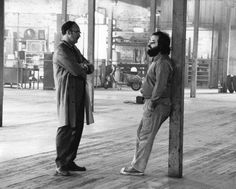 """Gene Hackman with Francis Ford Coppola on the set of """"The Conversation"""" 1974"""