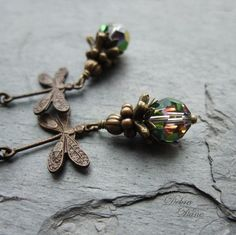Dragonfly Earrings Blue Green Crystal Swarovski Antique Brass Vintaj Shimmering Dragonflies on Etsy, 181:69kr