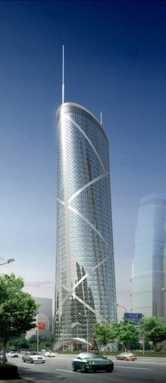 X3-2 Office Tower, Shanghai, China by Pei Partnership Architects :: 43 floors, height 200m
