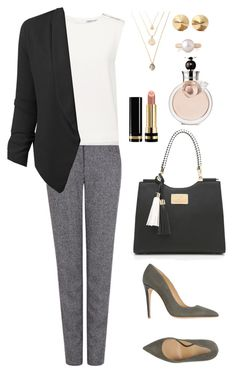 """Untitled #176"" by maikou-yang on Polyvore featuring Pink Tartan, Finders Keepers, LE3NO, Armani Collezioni, Eddie Borgo, Belpearl, Valentino and Gucci"