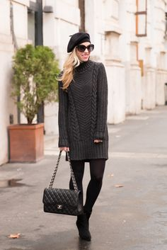 Dark Palette: cable knit turtleneck sweater dress, cashmere beret, black suede booties, Chanel Jumbo classic flap bag black caviar with silver hardware, sweater dress with booties outfit, winter outfit with beret hat