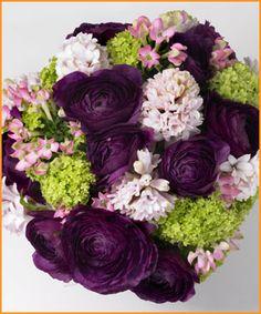 Bouquet idea...purple ranunculus, white hydrangea, blush garden roses, maybe a couple picasso mini callas...gold accents!