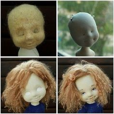 Forming the head of a textile doll (Irina Hochina)Is this a stockinette doll form with felted surface features?Needle felted base for soft sculpture doll face. Doll Crafts, Diy Doll, Doll Toys, Baby Dolls, Tilda Toy, Doll Tutorial, Sewing Dolls, New Dolls, Waldorf Dolls