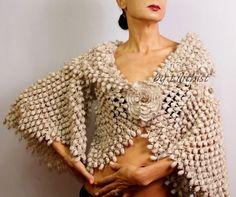 Your place to buy and sell all things handmade Wedding Shrug Bolero Bridal Shrug Bolero Jacket Champagne Knit Shrug, Shrug Sweater, Crochet Shawl, Crochet Shrugs, Crochet Vests, Knitted Cape, Crochet Edgings, Crochet Sweaters, Capelet