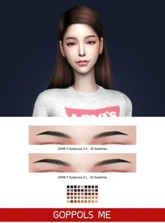 F-Eyebrows 5-S & 5-L by GOPPOLS Me for The Sims 4