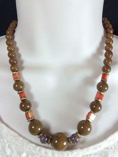 #artdeco #rousselet Vintage Art Deco French Rousselet Brown Orange Purple Bead Glass Necklace