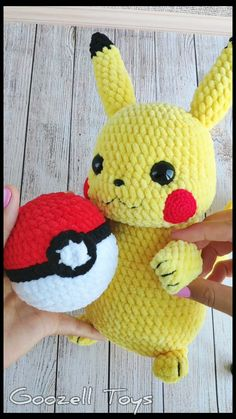 "Two amigurumi toys patterns set: Crochet Pikachu pattern and Crochet Pokeball pattern. Pikachu - the most popular of all Pokemon. And about him there is a film ""Detective Pikachu"" Amigurumi Pikachu will be the best gift for Pokemon fans. It is very soft Pokemon Crochet Pattern, Pikachu Crochet, Crochet Patterns Amigurumi, Crochet Dolls, Amigurumi Toys, Pikachu Pokeball, Pokemon Plush, Crochet Gifts, Stuffed Toys Patterns"