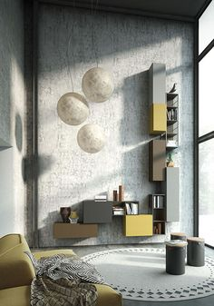 Italian furniture wall units system with a vintage flair using recycled material reconditioned with high end modern technology #ITALY #Italian #furniture http://www.momentoitalia.com/ modern Italian wall units