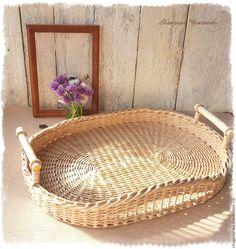 Купить Поднос плетеный бежевый Фрейя - бежевый, плетение из бумаги, поднос плетненый, плетеные подносы