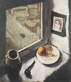 poboh:  View from a window, 1930, Efraim Seidenbeutel. Polish/Jewish Painter (1902 - 1945)
