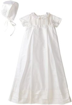 2ea27a7cf1bb Kitestrings Baby-Boys Newborn Silk Christening Gown And Bonnet Set