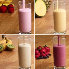 Freezer-Prep Smoothies 4 Ways Healthy Breakfast Shakes, Breakfast Smoothies For Weight Loss, Fruit For Breakfast, Easy Protein Shakes, Homemade Protein Shakes, Healthy Breakfast Meal Prep, Vanilla Protein Shakes, Protein Powder Shakes, Healthy Protein Shakes