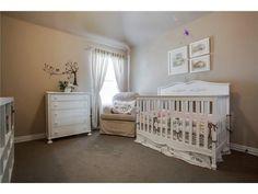 Light baby nursery // White crib and furniture