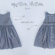 """Operation Vacation"" continues with day 2 of Kids Clothes Week Summer 2015. Today's outfit is a lightweight denim pinafore dress. Perfect for the summer and at the same time can be worn later in the fall with some cute shirt underneath and a cardigan on top. The options are endless. Denim pinafore dress #mypetitesophie"
