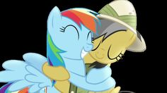 Daring do and rainbow dash hugging