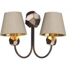 SHARD traditional twin copper wall light with taupe silk shades