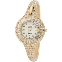 80% Discount#Best women watch#Burgi Women's BU40YG Round Diamond Crystal Gold-tone Bangle Quartz Watch | Skeleton Watches