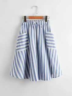 Girls Knotted Front Pocket Patched Striped Skirt – Kidenhouse Summer Girls, Spring Summer, Girl Outfits, Fashion Outfits, White Casual, Printed Skirts, Flare Skirt, Pleated Skirt, Trendy Fashion