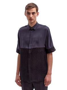 Lanvin Men's Cross-Hatched Contrast Panel Shirt