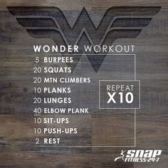 """The Wonder Woman movie was just released! Inspired to get in """"Wonder Woman"""" shap… The Wonder Woman movie was just released! Inspired to get in """"Wonder Woman"""" shape? Do this workout. Fitness Workouts, Fitness Motivation, At Home Workouts, Fitness Tips, Health Fitness, At Home Wods, Crossfit Ab Workout, Fitness Circuit, Movie Workouts"""