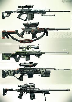Snipers - Weapons concept, Vincent Filipiak (RAZ) on ArtStation at http://www.artstation.com/artwork/snipers-weapons-concept