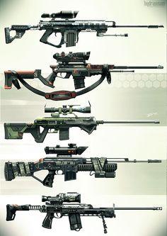 Snipers - Weapons concept, Vincent Filipiak (RAZ) on ArtStation Sci Fi Weapons, Weapon Concept Art, Fantasy Weapons, Weapons Guns, Guns And Ammo, Le Sniper, Sniper Rifles, Future Weapons, Fire Powers