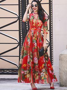 Chiffon Floral Print Waist Maxi Dress from DressSure.com #dresssure #fashion #dresses #HighQuality