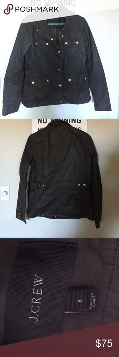 J. Crew the downtown field jacket Hardly worn. Perfect condition. Still has a waxed feel to it (greenish brown color) J. Crew Jackets & Coats Utility Jackets