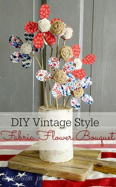 Looking to create a fun rustic style flower bouquet that won't have you wishing you had a green thumb? This vintage & rustic style flower bouquet in red white and blue can be used in your home or at a barn wedding! Try it out today! Freedom in bloom. dandelionpatina.com #birch