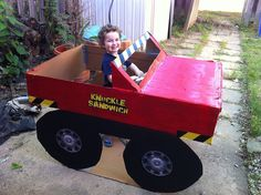 Make your own monster truck from a cardboard box! Need to try this :)