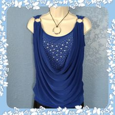 $16 ROYAL BLUE BLING TANK. NWT. jon & anna New York Tank with bling on chest. Silver hoops at shoulders. Size L. 82 poly/8 spandex. Banded Waist. Flattering fit. jon & anna New York Tops Tank Tops